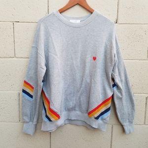 Spiritual Gangster Heart Stripe Sweatshirt Sz M
